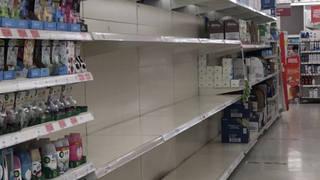 Empty shelves in Sainsbury's in Bath yesterday
