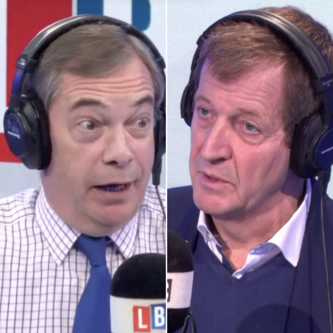 Nigel Farage and Alastair Campbell in the LBC studio
