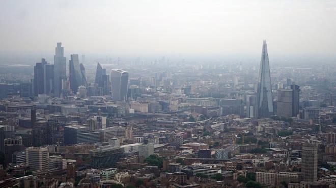 Aerial views of the London skyline