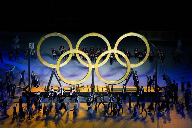 The five Olympic rings on display during the opening ceremony
