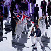 Hannah Mills and rower Mohamed Sbih lead out Great Britain during the ceremony