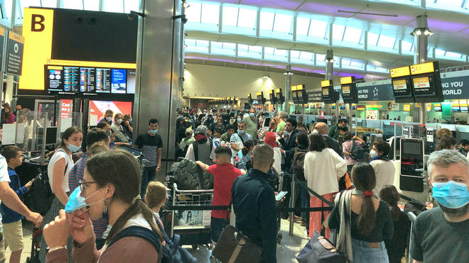 """The scenes at Heathrow on Saturday were described as """"total chaos"""""""