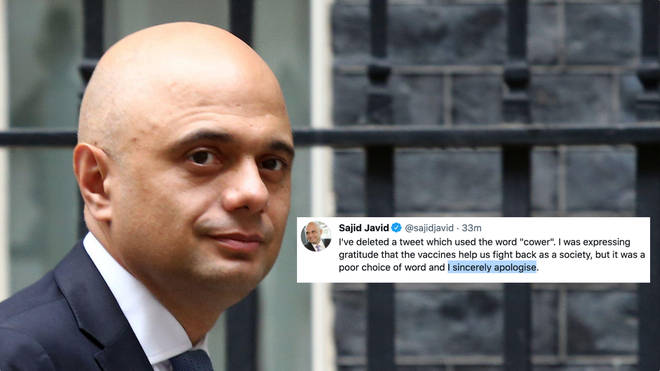 """Sajid Javid has apologised for saying people should no longer """"cower"""" from Covid-19"""