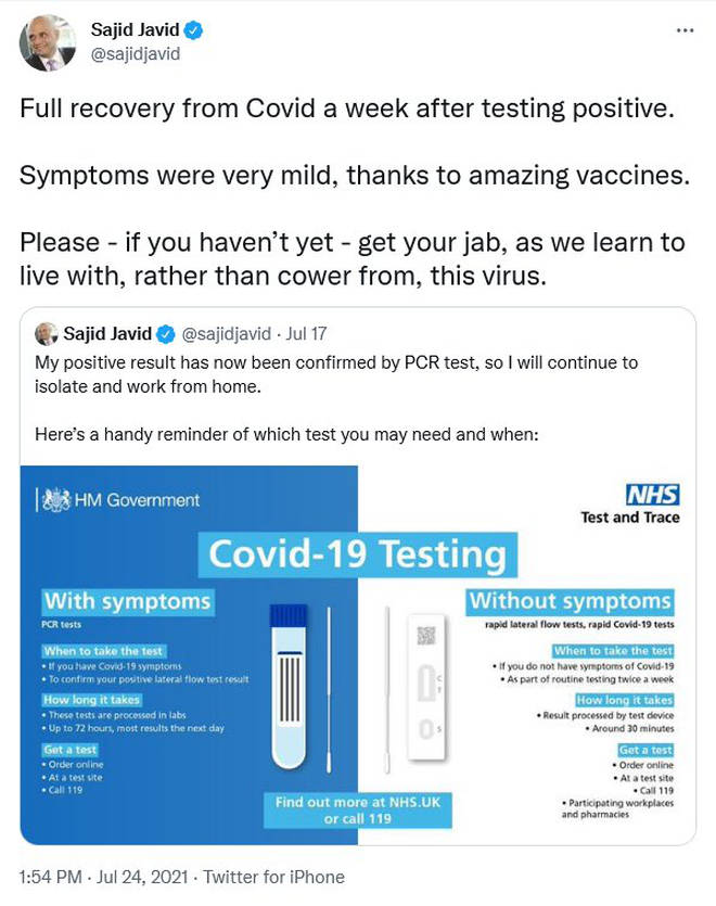 Sajid Javid since deleted this tweet urging Brits not to 'cower' from the virus