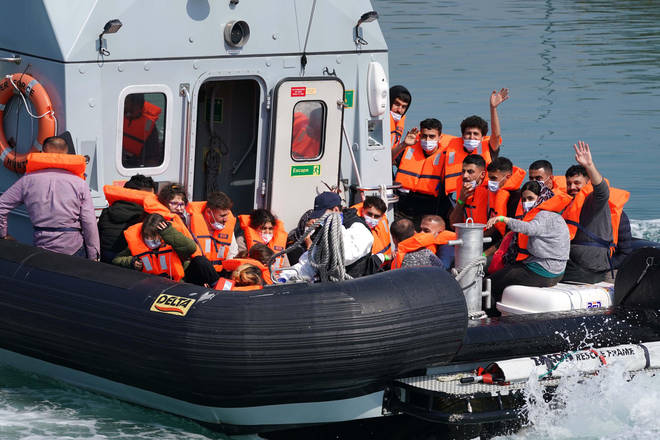 A group of people thought to be migrants are brought in to Dover, Kent, onboard a border force boat following a small boat incident in the Channel.