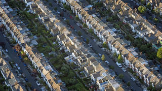 Aerial views of rows of houses