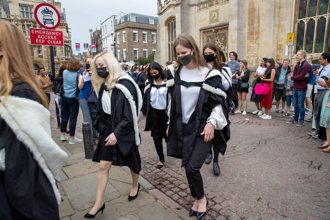 Students from Murray Edwards College Cambridge on Saturday morning on their graduation day