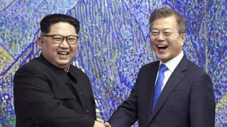 North Korean leader Kim Jong Un and South Korean President Moon Jae-in