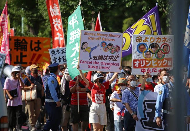 There have been protests in Tokyo against the games.