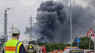 Emergency vehicles close to the blast site in Leverkusen