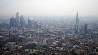 An aerial view of London skyline