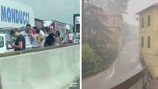 Hailstorms and flooding have hit northern Italy, causing chaos.