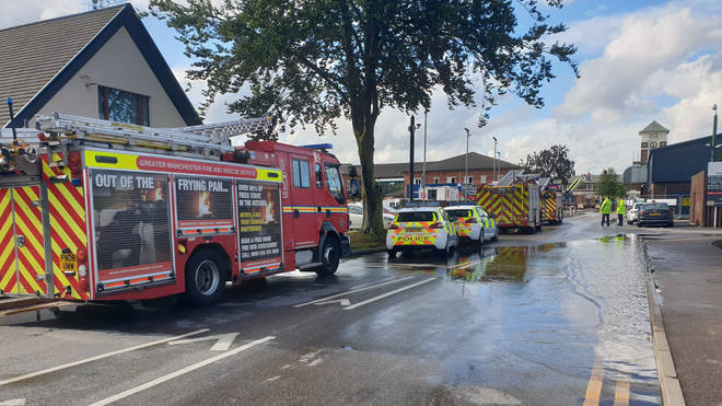 Emergency services were called to Trafford General Hospital after it was stuck by lightning on Wednesday afternoon