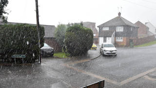 Hailstorms battered the UK on Tuesday after several days of unsettled weather