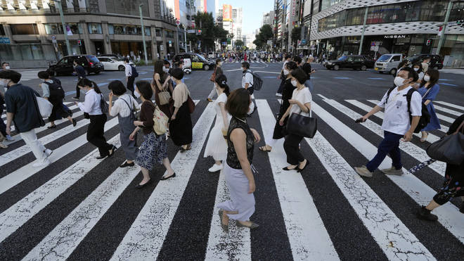 People in Tokyo wearing protective masks