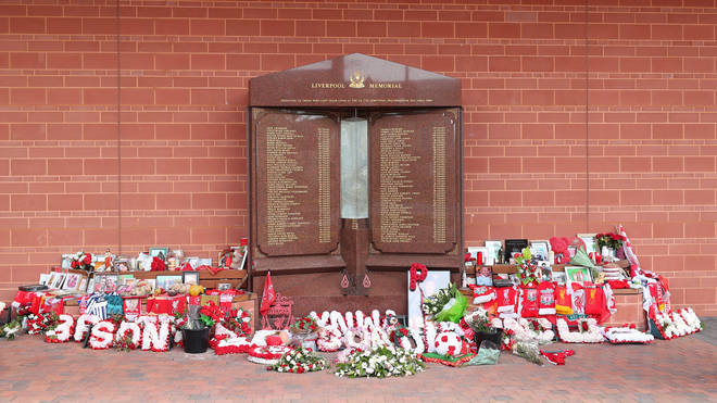 The Hillsborough memorial outside Anfield stadium commemorates the lives lost in the disaster.