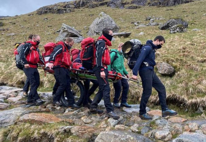 The Llanberis rescue team were called to rescue the women after a lightning strike