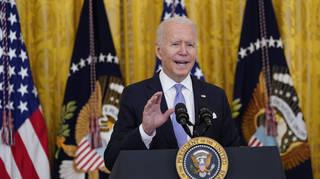 President Joe Biden speaks in the East Room of the White House in Washington