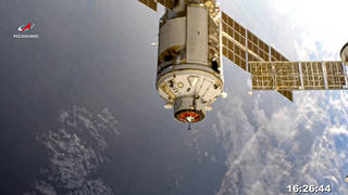The Nauka module is seen prior to docking with the International Space Station