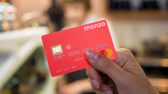 A Monzo bank card