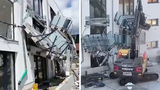 Shocking moment builder causes £425k damage to new flats after 'not being paid'