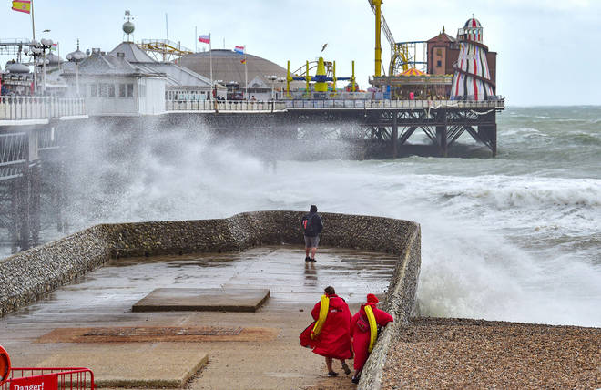 Choppy waters were snapped on Brighton seafront earlier today