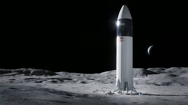 An illustration of the SpaceX Starship human lander design that will carry the first Nasa astronauts to the surface of the moon under the Artemis programme