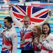 Adam Peaty, James Guy, Anna Hopkin and Kathleen Dawson celebrate their gold medal