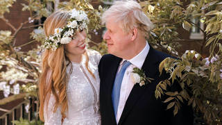 Boris Johnson and wife Carrie on their wedding day