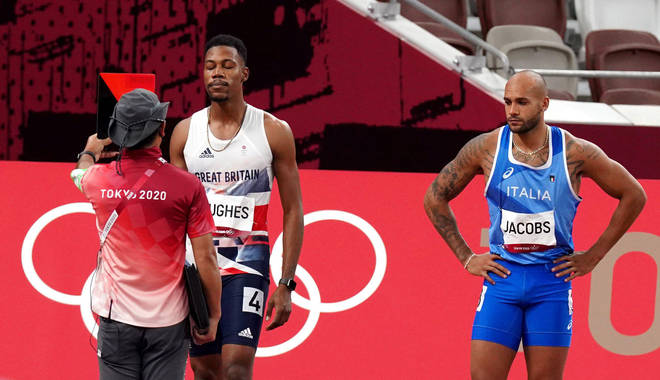 Zharnel Hughes is disqualified from the Men's 100 metres