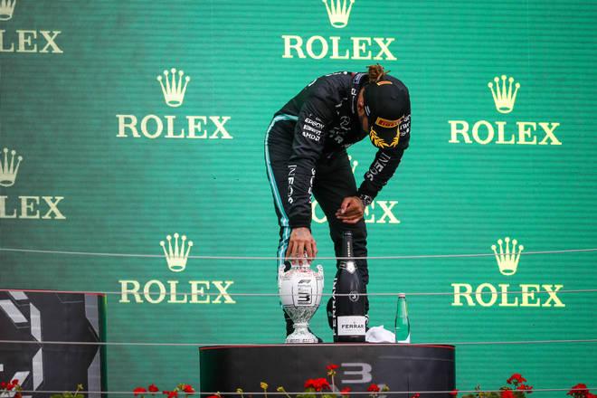 Hamilton on the podium after Sunday's Grand Prix