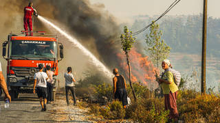Turkish firefighters were battling for the sixth straight day