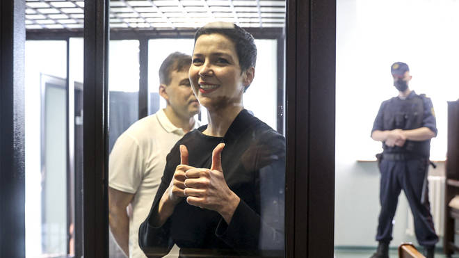 Maria Kolesnikova, foreground, and Maxim Znak