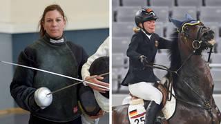 Kim Raisner, left, has been sent home after punching a horse ridden by Annika Schleu, right