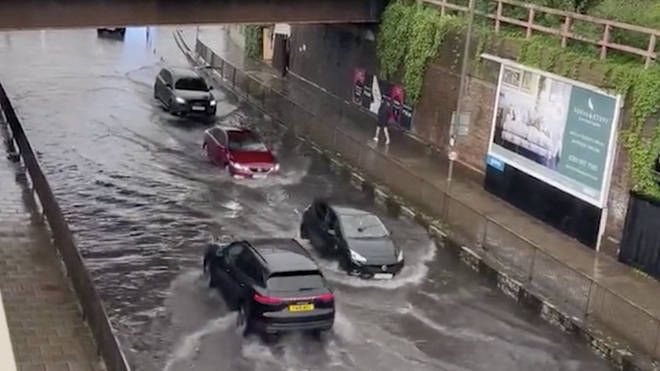 Social media clips show flooding in parts of the UK