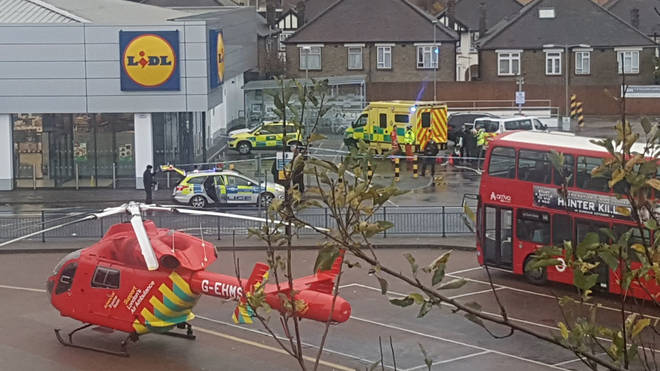 Emergency services were called to the Lidl supermarket just before 1:20pm