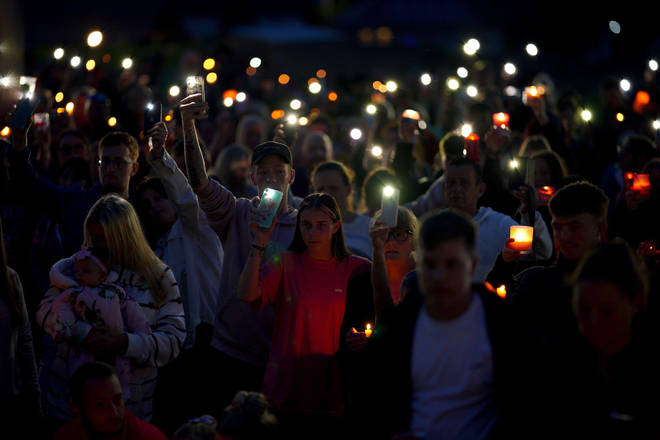 Hundreds gathered in Keyham this evening to remember those lost killed and injured in Thursday's shooting.
