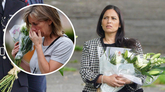 Priti Patel paid her respects to the victims of the Plymouth shooting on Saturday
