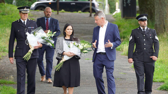 Priti Patel left flowers in tribute to the victims