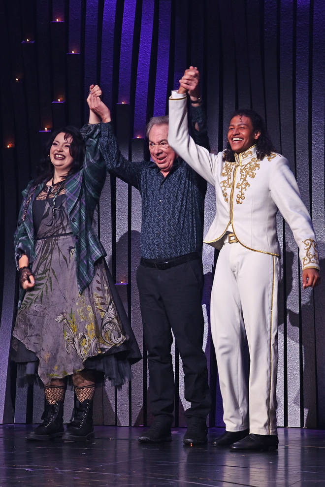"""(L to R) Carrie Hope Fletcher, Lord Andrew Lloyd Webber and Ivano Turco bow at the curtain call during the press night performance of """"Cinderella"""""""