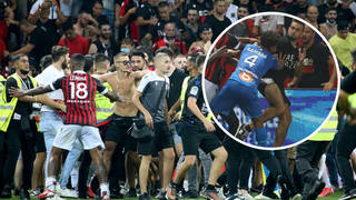Marseille players were attacked by Nice fans during the French Ligue 1 game