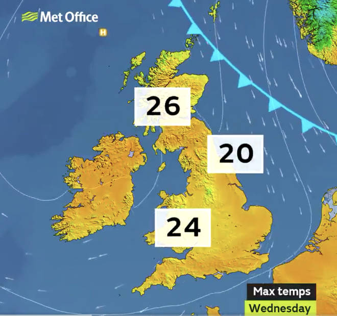 Temperature could reach 27C in parts of the UK on Wednesday.