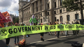 Extinction Rebellion protesters block Whitehall