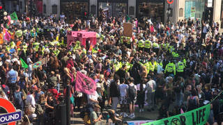 Hundreds of protestors from the Extinction Rebellion have gathered at Oxford Circus in central London.