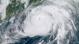 Satellite image showing Hurricane Ida, a category 4 storm, which has hit the coast of lower Louisiana