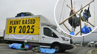 Climate activists have blockaded Arla Foods' Aylesbury distribution centre
