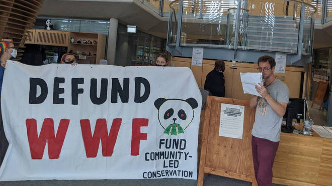 XR and WTFWWF protesters are demonstrating against WWF