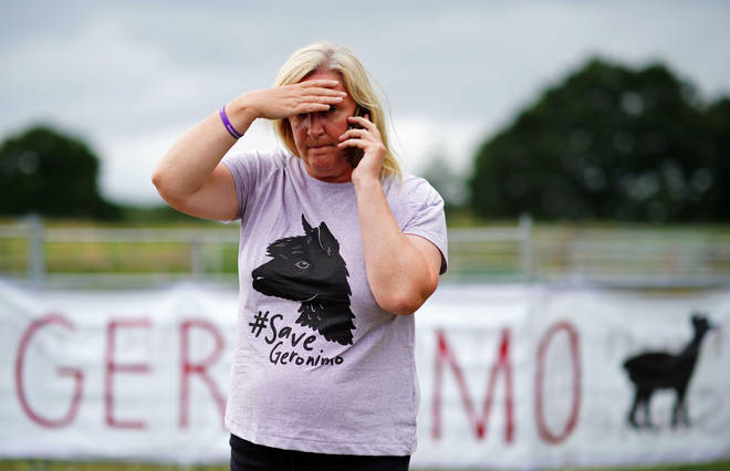 Helen Macdonald, the owner of Geronimo the alpaca, after the animal was taken away to an undisclosed location.