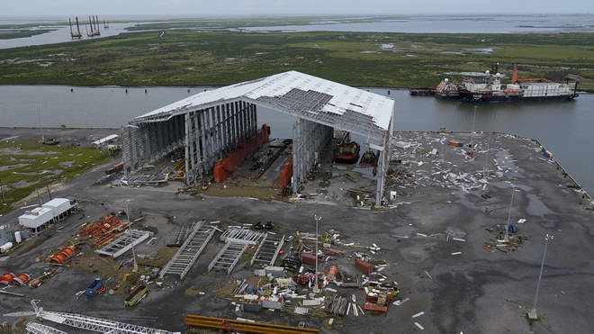 Damage to ship docking facilities are seen in the aftermath of Hurricane Ida in Port Fourchon, Louisiana