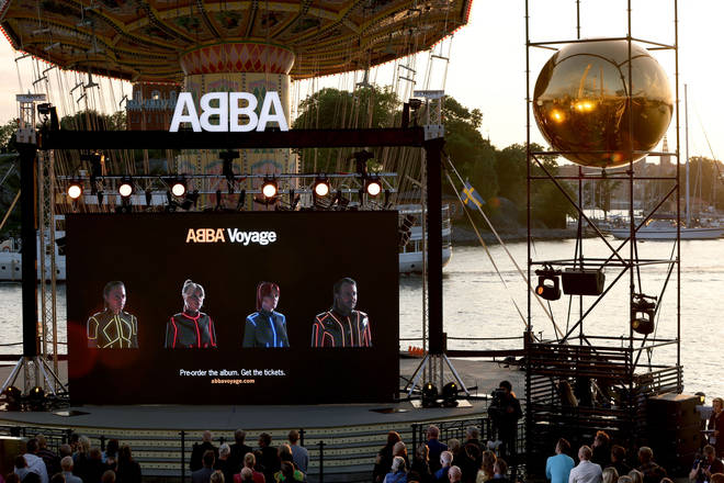 Members of the Swedish group ABBA are seen on a display during their Voyage event